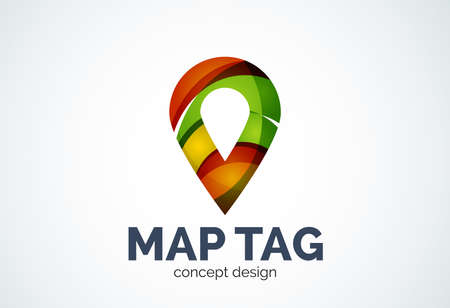 points of interest: Abstract business company map tag or locator template, navigation pointer concept - geometric minimal style, created with overlapping curve elements and waves. Corporate identity emblem