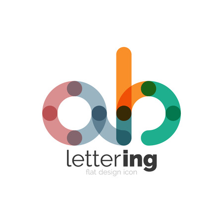 initial: Letter business linear icon on white background. Alphabet initial letters company name concept. Flat thin line segments connected to each other. Flat cartoon industrial wire or tube design of ABC typeface