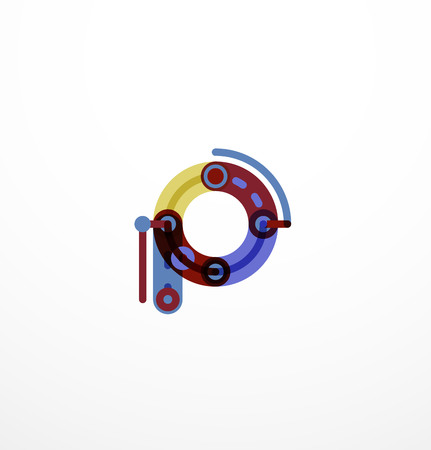 Linear letter. Minimalistic thin lines