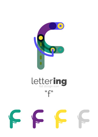 company name: Alphabet letter font  business icon. Company name concept. Flat thin line segments connected to each other.