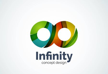 loops: Abstract business company infinity  template, loops concept - geometric minimal style, created with overlapping curve elements and waves. Corporate identity emblem Illustration