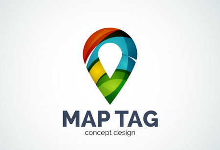 Abstract business company map tag or locator  template, navigation pointer concept - geometric minimal style, created with overlapping curve elements and waves. Corporate identity emblem