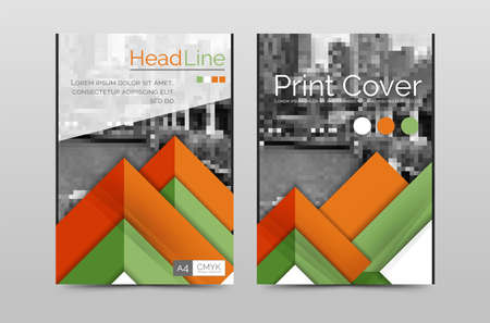 periodical: Geometric brochure front page, business annual report cover vector template, A4 size poster Illustration