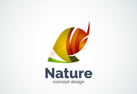 Abstract business company leaf  template, green concept - geometric minimal style, created with overlapping curve elements and waves. Corporate identity emblem.