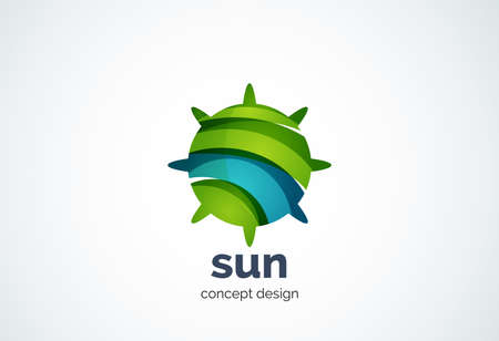 shining star: Sun   template, shining star concept - geometric minimal style, created with overlapping curve elements and waves. Corporate identity emblem, abstract business company branding element