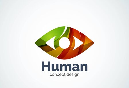 Abstract business company human eye  template, sight or look concept - geometric minimal style, created with overlapping curve elements and waves. Corporate identity emblem