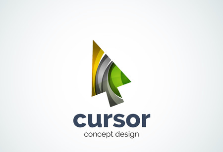mouse pointer: Cursor template, mouse pointer and arrow concept. Modern minimal design  created with geometric shapes - circles, overlapping elements
