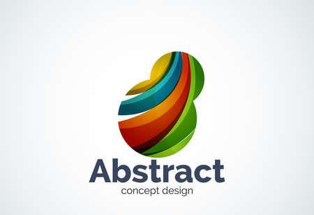 Abstract bubble template, thinking cloud concept or inflating. Color overlapping pieces design style