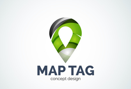 locator: Abstract business company map tag or locator  template, navigation pointer concept - geometric minimal style, created with overlapping curve elements and waves. Corporate identity emblem