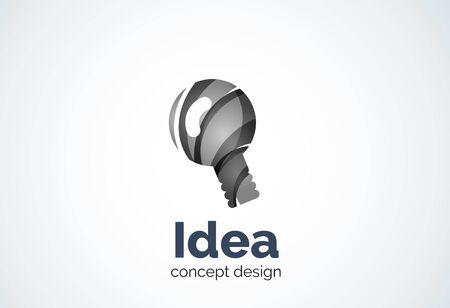 illumination: Light bulb   template, new idea, energy or illumination concept. Modern minimal design  created with geometric shapes - circles, overlapping elements Illustration
