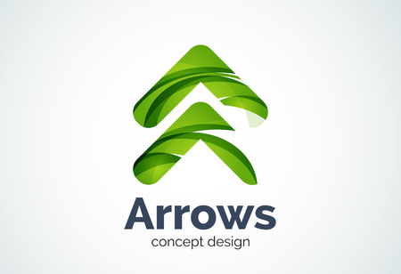 Arrow   template, next or right concept. Modern minimal design   created with geometric shapes - circles, overlapping elements