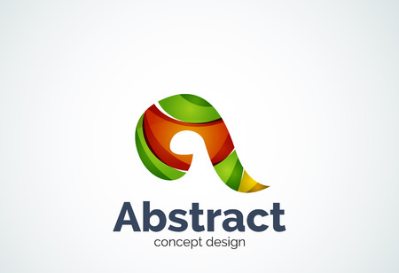 Abstract swirl   template, smooth elegant shape concept. Color overlapping pieces design style