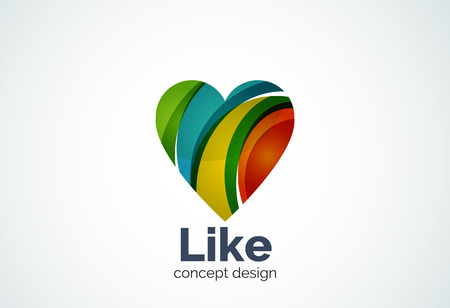 Love heart  template, abstract elegant business icon, social like concept
