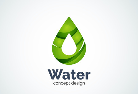 Abstract business company water drop  template, conservation environmental nature concept - geometric minimal style, created with overlapping curve elements and waves. Corporate identity emblem