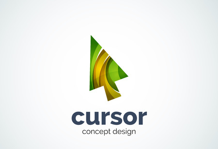 mouse pointer: Cursor  template, mouse pointer and arrow concept. Modern minimal design  created with geometric shapes - circles, overlapping elements Illustration