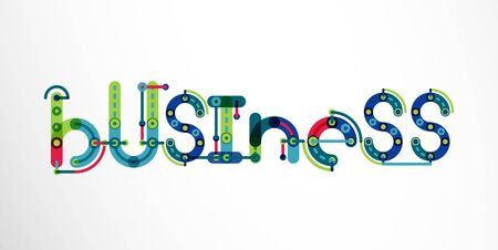 resourcefulness: Business word lettering, wire minimalistic thin line design Illustration