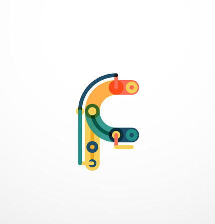 Cartoon linear letters icons. Modern funny concept