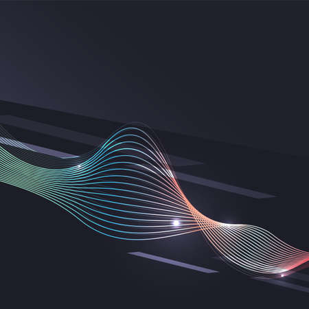 blending: Smoke pattern on dark background. Colorful blending lines with shiny effects, business or hi-tech minimal message presentation template