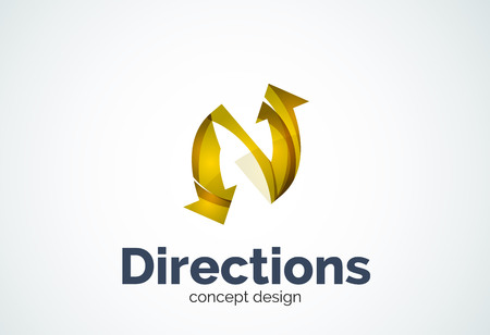 Direction arrows template, abstract elegant business icon
