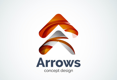 Arrow  template, next or right concept. Modern minimal design created with geometric shapes - circles, overlapping elements Illustration