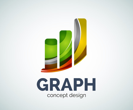 Graph template, abstract elegant glossy business icon Illustration