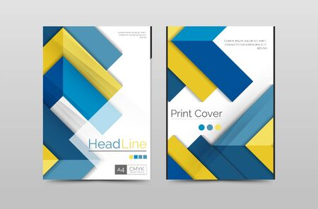 Geometric brochure front page, business annual report cover vector template, A4 size poster Illustration