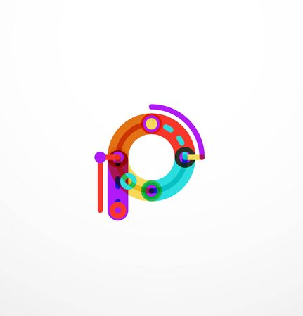 Abstract line design letter created with colorful line segments