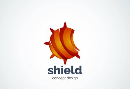 security company: Round shield   template, security or safe concept - geometric minimal style, created with overlapping curve elements and waves. Corporate identity emblem, abstract business company branding element Illustration