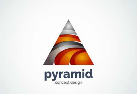 Pyramid template, triangle cycle concept - geometric minimal style, created with overlapping curve elements and waves. Corporate identity emblem, abstract business company branding element Illustration