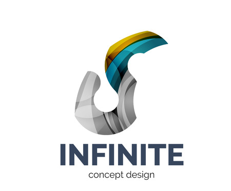 infinite: Infinite  business branding icon, created with color overlapping elements. Glossy abstract geometric style Illustration