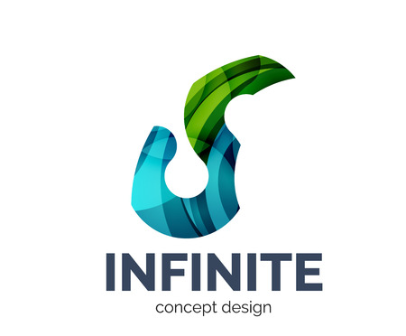 mobius loop: Infinite   business branding icon, created with color overlapping elements. Glossy abstract geometric style Illustration