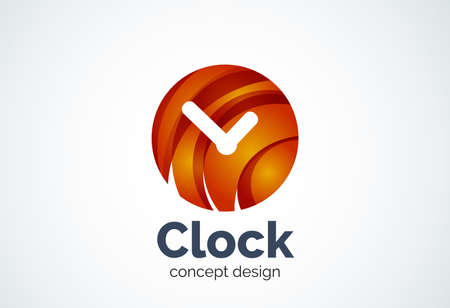 Clock   template, time management business concept. Modern minimal design  created with geometric shapes - circles, overlapping elements