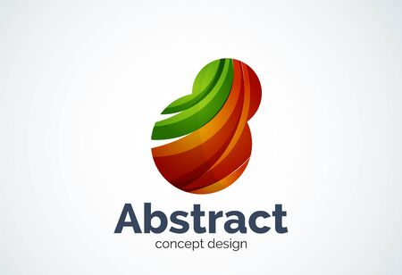 inflating: Abstract bubble template, thinking cloud concept or inflating. Color overlapping pieces design style
