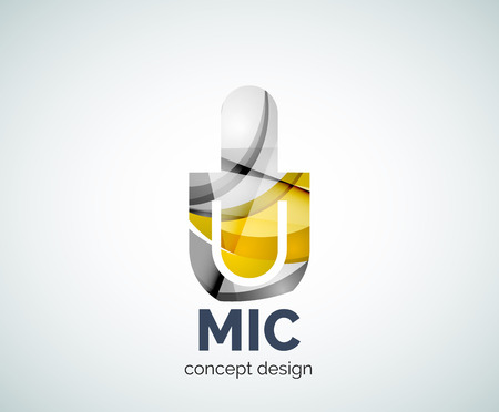 voices: Microphone  business branding icon, created with color overlapping elements. Glossy abstract geometric style