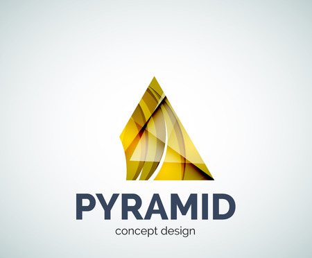 delta: Pyramid  business branding icon, created with color overlapping elements. Glossy abstract geometric style