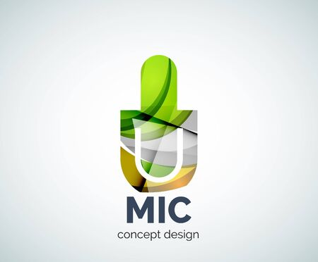 Microphone  business branding icon, created with color overlapping elements. Glossy abstract geometric style