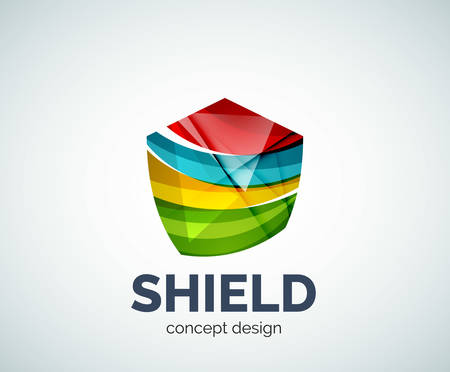 honour guard: Shield business branding icon, created with color overlapping elements. Glossy abstract geometric style