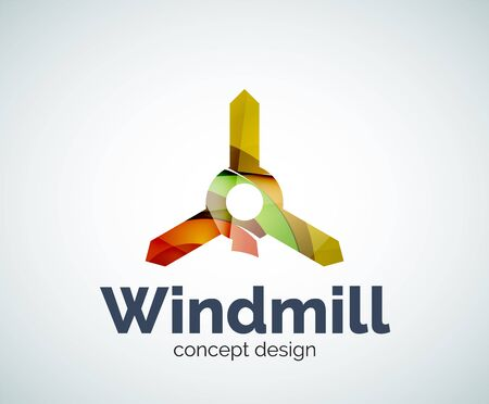 wind mills: Windmill logo template, abstract elegant glossy business icon