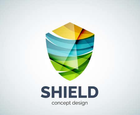 honor guard: Shield  business branding icon, created with color overlapping elements. Glossy abstract geometric style, single