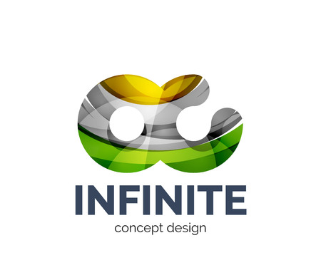 Infinite business branding icon, created with color overlapping elements. Glossy abstract geometric style, single