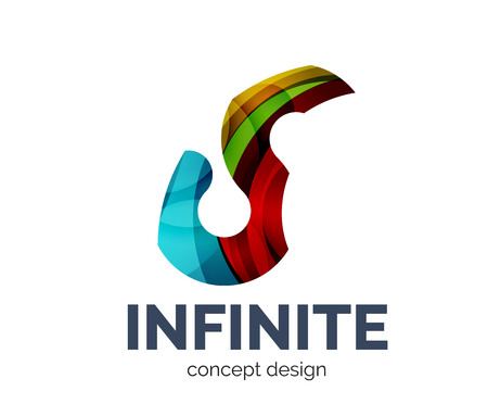 mobius loop: Infinite  business branding icon, created with color overlapping elements. Glossy abstract geometric style, single Illustration