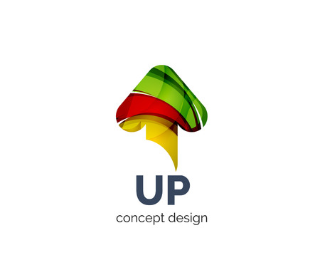 background next: Up arrow   business branding icon, created with color overlapping elements. Glossy abstract geometric style, single