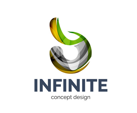 Infinite  business branding icon, created with color overlapping elements. Glossy abstract geometric style, single Illustration