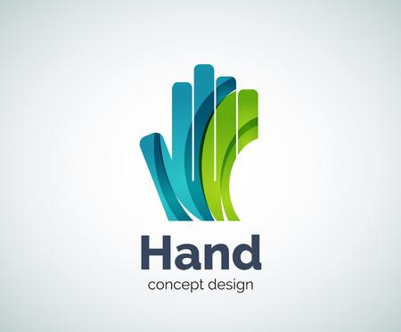 Modelo de la insignia de la mano, abstracto geométrico brillante del icono del asunto