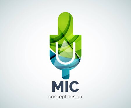 voices: Microphone  business branding icon, created with color overlapping elements. Glossy abstract geometric style, single Illustration