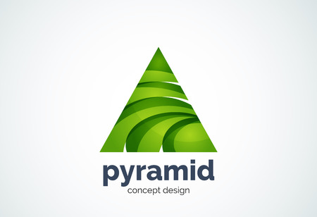 Pyramid Template, Triangle Cycle Concept   Geometric Minimal Style, Created  With Overlapping Curve Elements