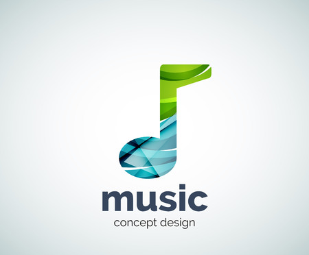 logo music: Music note logo template, abstract geometric glossy business icon