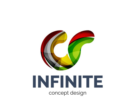 mobius loop: Infinite logo business branding icon, created with color overlapping elements. Glossy abstract geometric style, single logotype