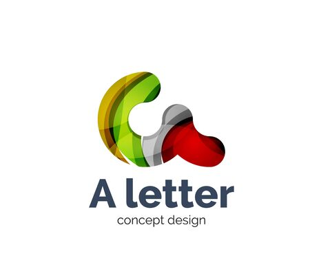initial: A letter alphabet round style   business branding icon, created with color overlapping elements. Glossy abstract geometric style, single