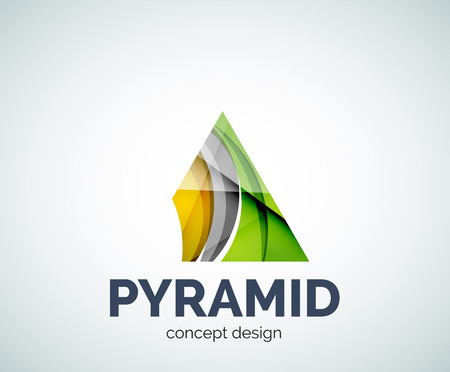 prisma: Pyramid business branding icon, created with color overlapping elements. Glossy abstract geometric style, single